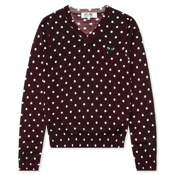 Comme des Garcons PLAY Womens Polka Dot Sweater Burgundy