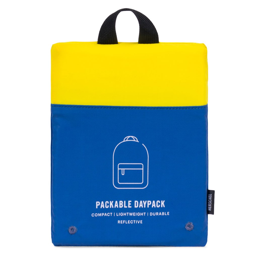 Herschel Supply Co. Packable Daypack 'Day/Night Collection' - Neon Yellow/Peacoat Reflective