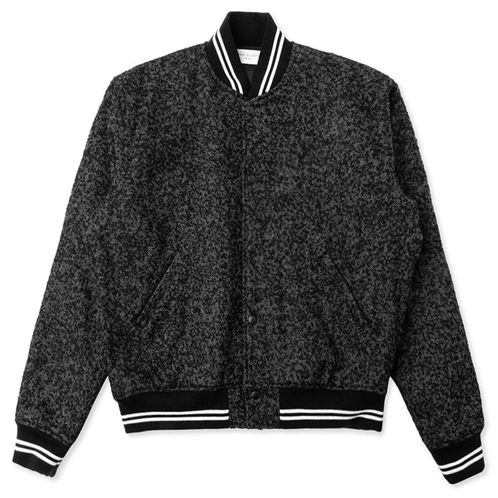 John Elliott Cropped Baseball Jacket - Charcoal Tweed