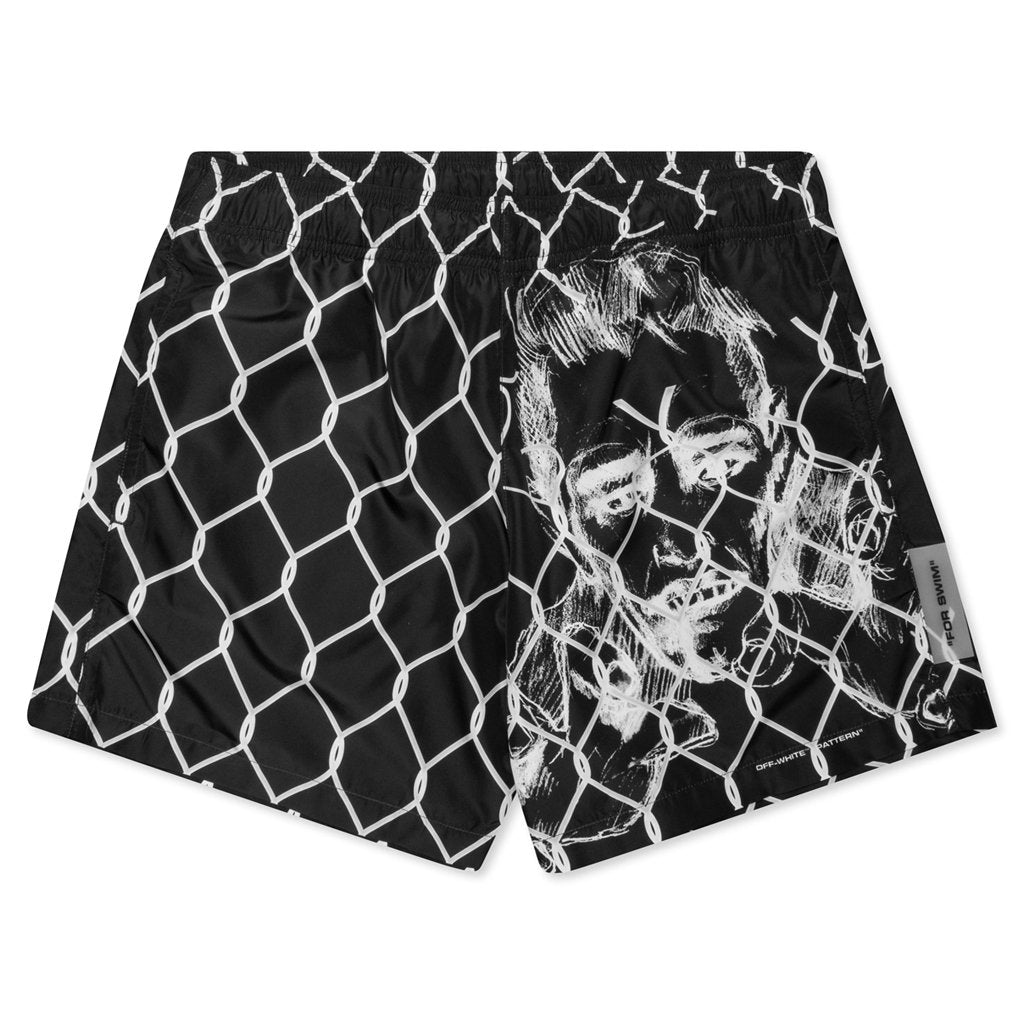 Off-White c/o Virgil Abloh Broken Fence Swimshorts - Black/White