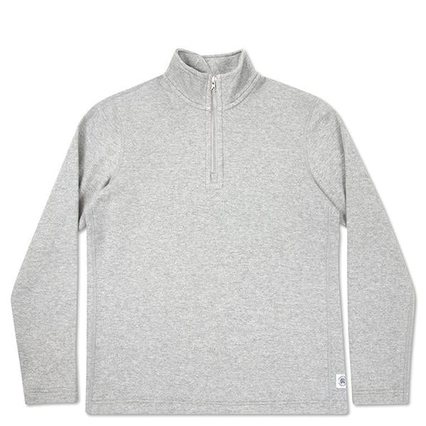 Reigning Champ Mesh Doubleknit Half Zip L/S - Heather Grey - RC-3403-HTG Front