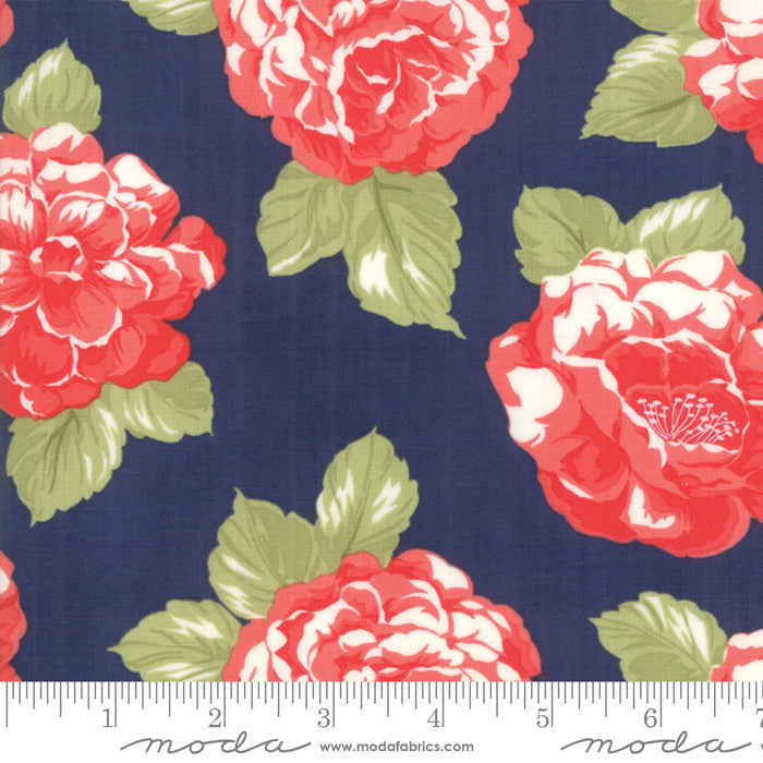 108in Early Bird Blooms Cotton Sateen Wide Quilt Back - Navy