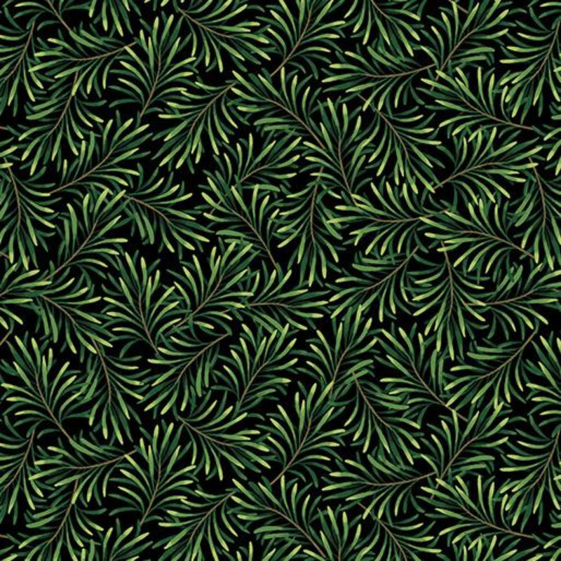 "108"" Boughs of Beauty Wide Quilt Back - Black/Green"