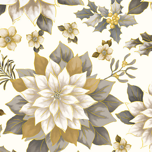 108in Joyous Garden Wide Quilt Back - Cream/Neutral Close-Up