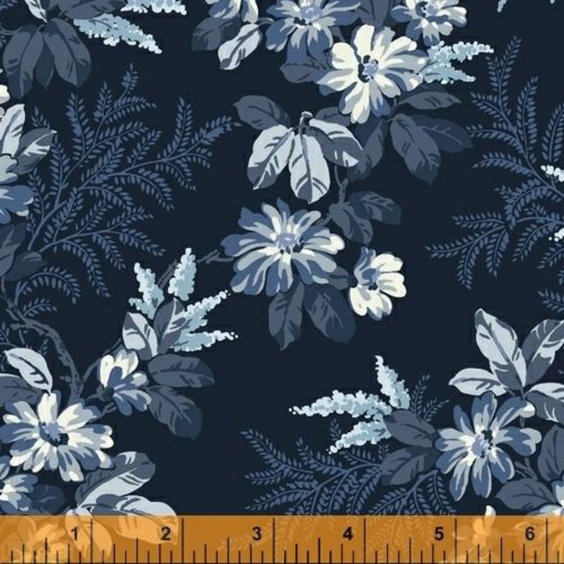 "108"" Blooming Branches Wide Quilt Back Navy"