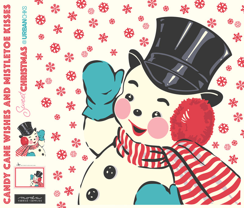 Sweet Christmas Snowman Applique Digital Panel 65in x 57in