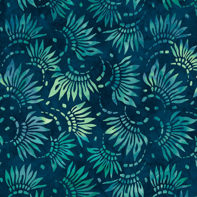 108in Petals Essential Wide Quilt Back - Teal
