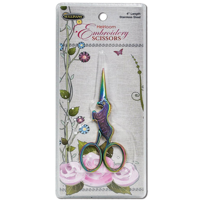 Rainbow Unicorn Heirloom Embroidery Scissors by Sullivans