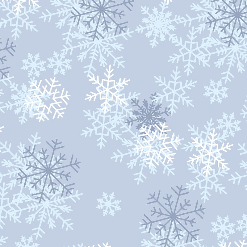108in Snowflake Wide Quilt Back - Blue