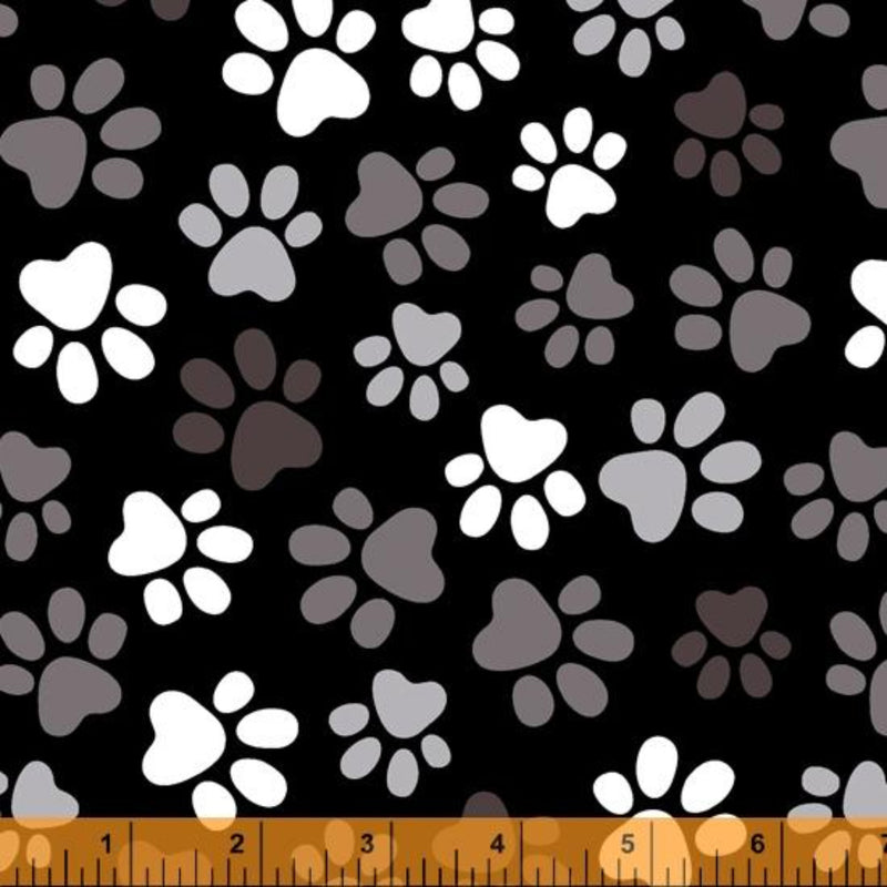 "108"" Paws Black Wide Quilt Backing by Whistler Studios"