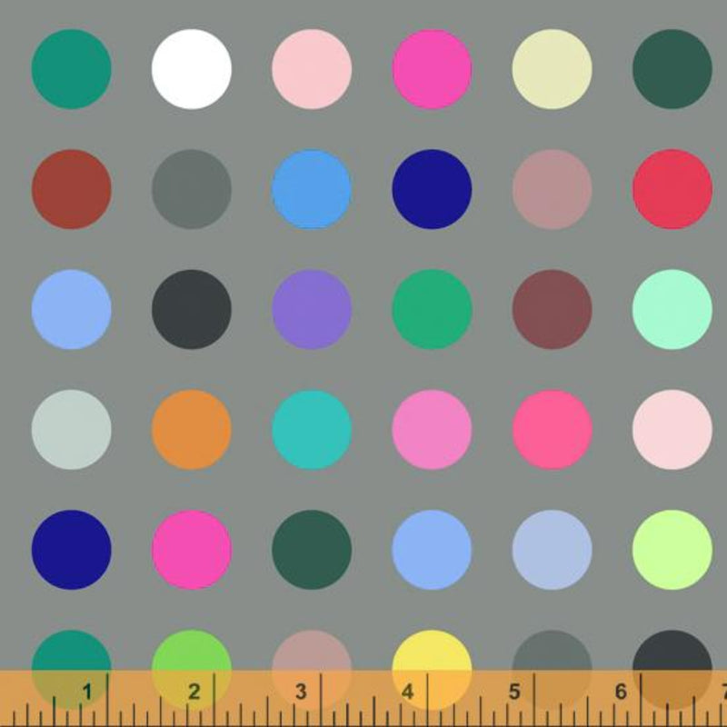 "108"" Many Colored Dots Grey Wide Quilt Back by Whistler Studios"