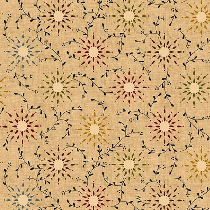 "108"" Prairie Vine Vintage Farmhouse Wide Quilt Back Tan"