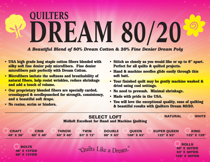 Quilters Dream 80/20 Batting Select Loft - Natural
