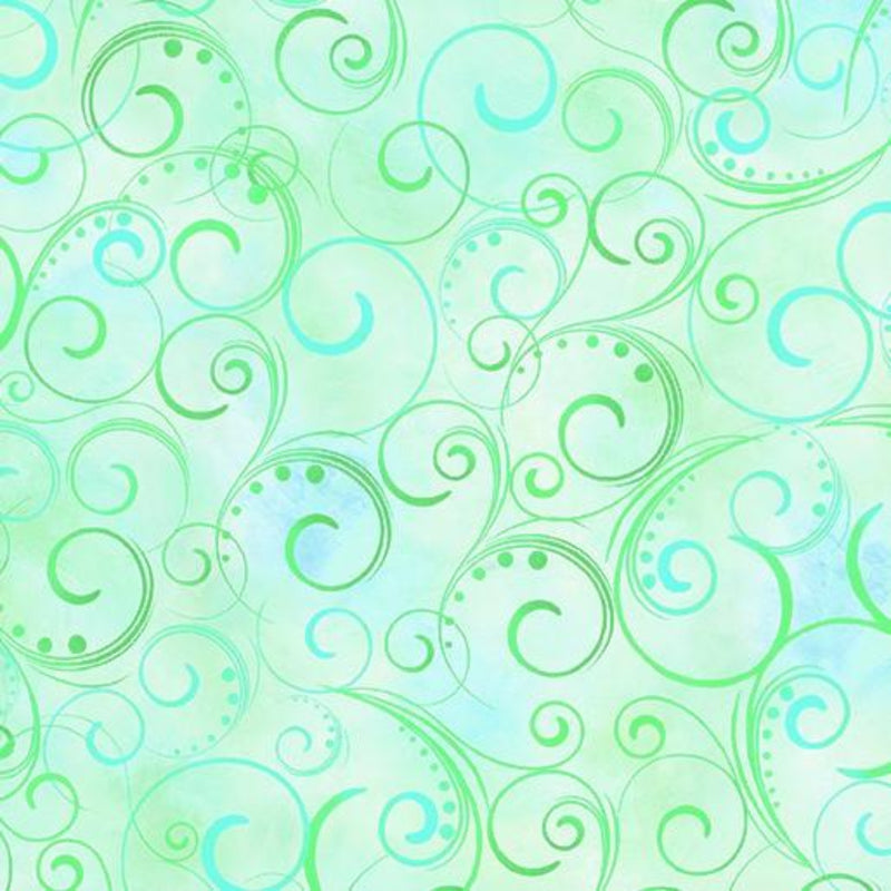 "108"" Swirling Splendor Wide Quilt Back Mint"