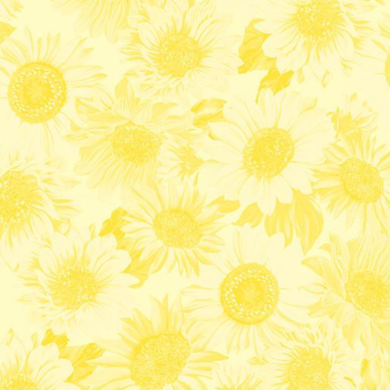 "108"" Sunflower Whispers Wide Quilt Back Yellow"