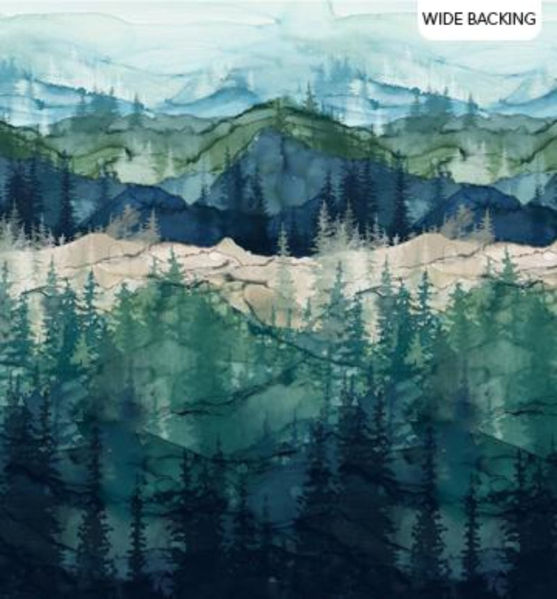 "106""/108"" Whispering Pines  Mountainscape Wide Quilt Back"