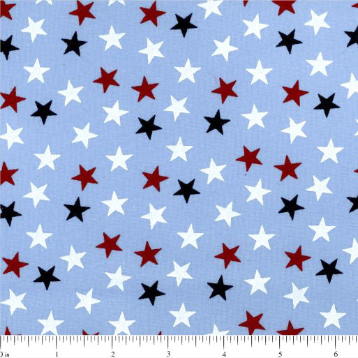 108in Value Collection Stand Up for America Random Stars Wide Quilt Back - Blue
