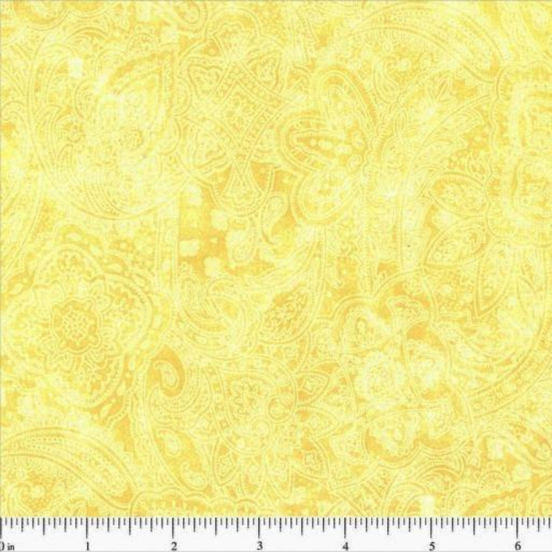 108in Subtle Paisley Wide Quilt Back - Buttercup