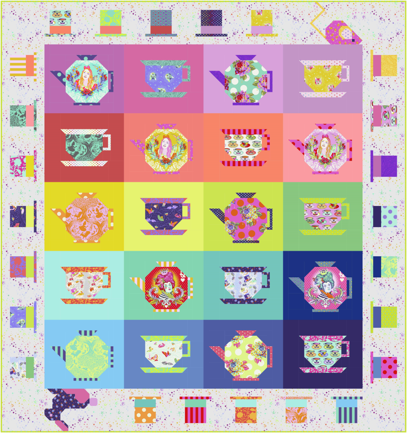 **Pre-Order; Includes FREE Backing!** Tula Pink Mad Hatter Tea Party Quilt Kit