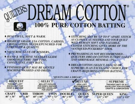 Quilters Dream Cotton Batting Deluxe Loft - Natural