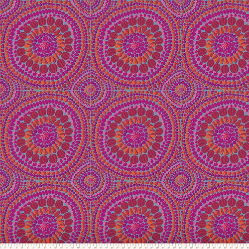 "108"" Fruit Mandala Cotton Sateen Wide Quilt Back by Kaffe Fassett - Pink"