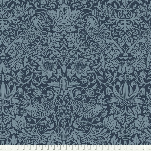108in Strawberry Thief Wide Quilt Back - Navy