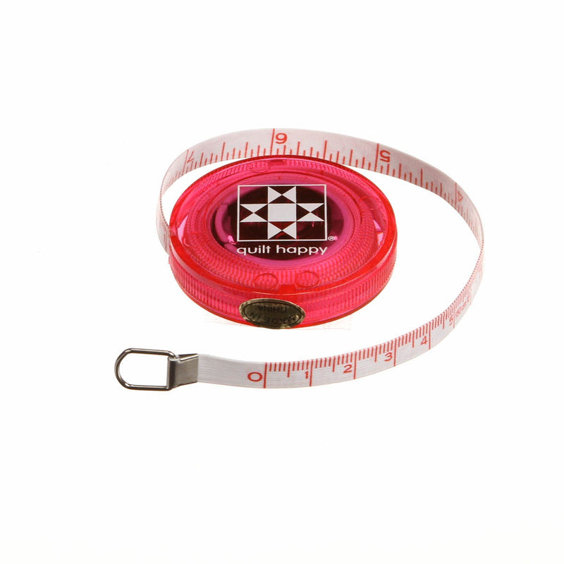 Quilt Happy 5ft, Retractable Tape Measure - Pink