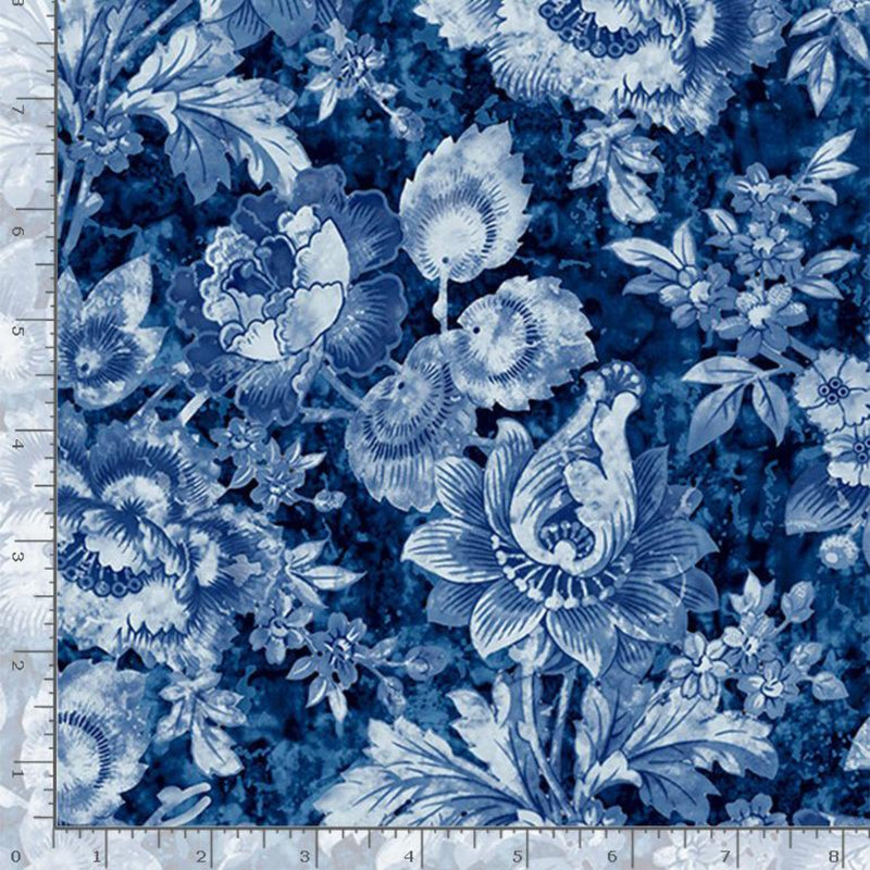 "57""/58"" London Blues Packed Stampled Floral Wide Quilt Back"