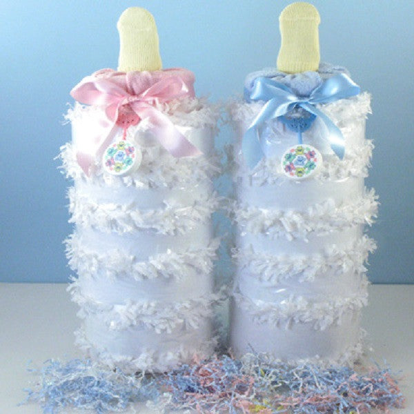 Baby Bottle Piñata Diaper Cake