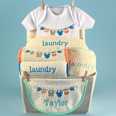 Personalized Baby Laundry Baby Gift Basket - Welcoming Home Baby