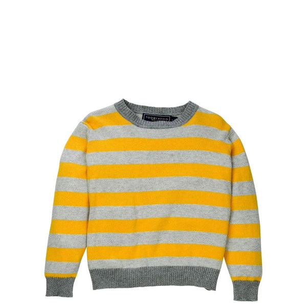 Yellow + Grey Cotton and Cashmere Crewneck