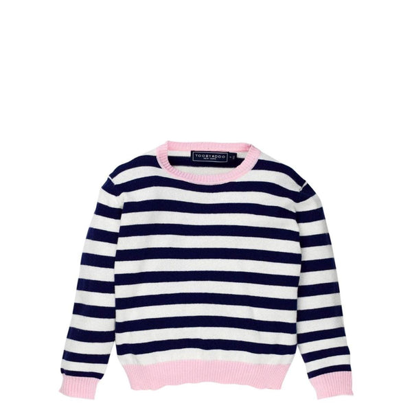 Navy + Pink Cashmere and Cotton Crewneck