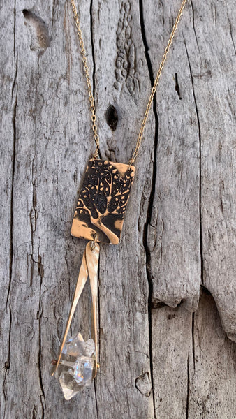 Bronze and Gold Fill Tree Necklace with Herkimer Diamond Drop