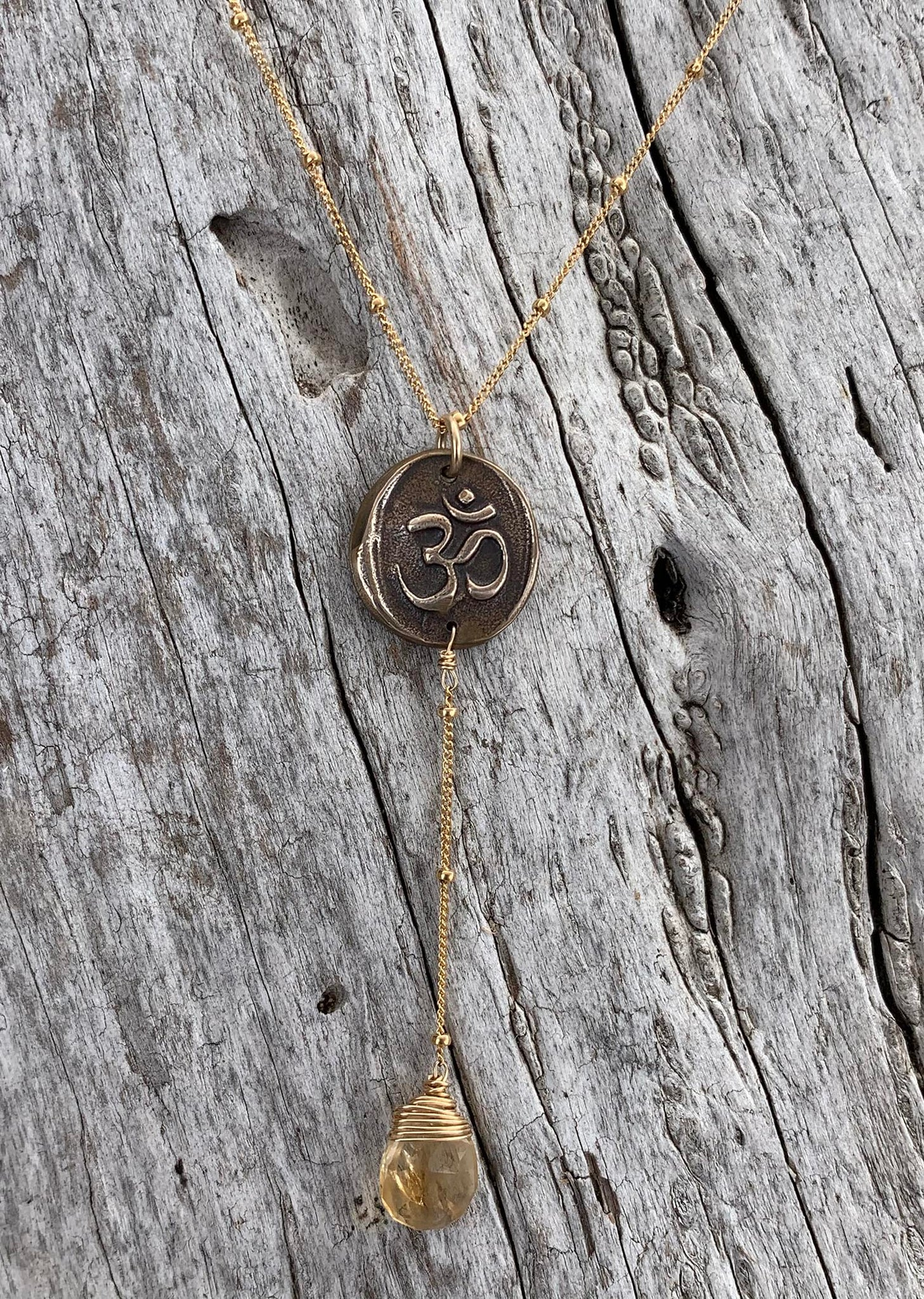 Handmade Gold Fill OM Lariat Delicate Necklace with Citrine Drop