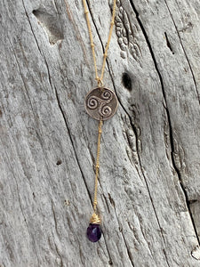 Handmade Gold Fill Triple Spiral Charm Lariat Delicate Necklace with Amethyst Drop