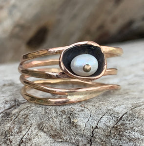 14K Gold Fill Wrap Ring with Freshwater Pearl Set in a Pod