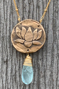 Gold Fill Lotus Necklace with Aquamarine Drop
