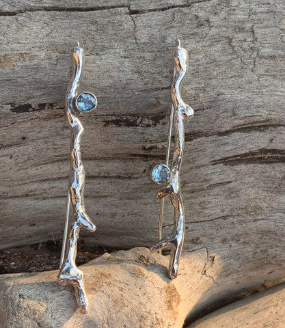 Handmade Sterling Silver Branch Earrings with Tube Set Aquamarine