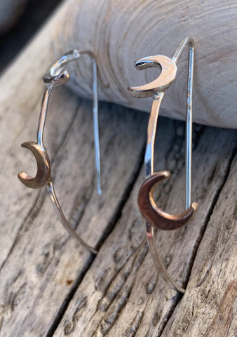 Handmade Sterling Silver Half Hoop Earrings with Bronze and Silver Crescent Moons