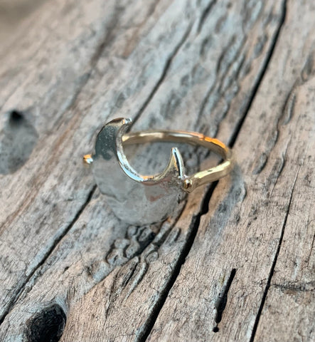 Silver Hammered Crescent Moon Ring with 14K Gold Fill Band Large