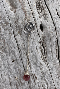 Handmade Sterling Silver Heart Spiral Charm Lariat Delicate Necklace with Pink Tourmaline Drop