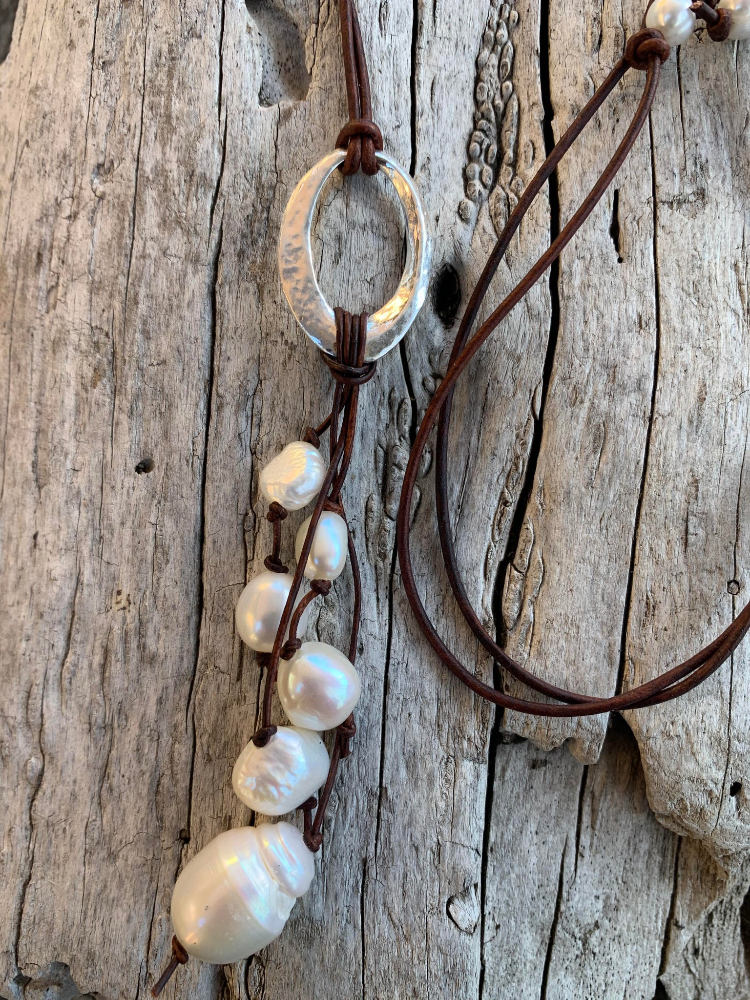 Handmade Sterling Silver Organic Hammered Oval Leather Adjustable Long Lariat Necklace with Freshwater Pearl Cluster