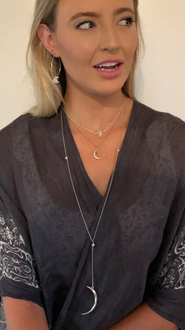 Handmade Gold Fill Long Crescent Moon Lariat Delicate Necklace