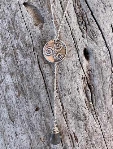 Handmade Sterling Silver Triple Spiral Charm Lariat Delicate Necklace with Labradorite Drop