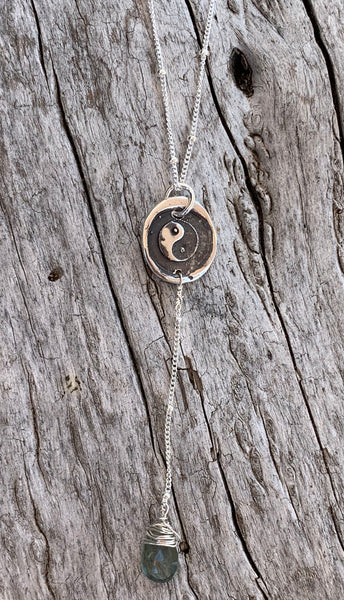 Handmade Sterling Yin Yang Charm Lariat Necklace with Aquamarine Drop