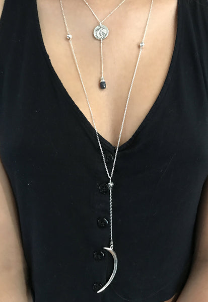 Handmade Sterling Elephant Silver Charm Lariat Delicate Necklace with Labradorite Drop