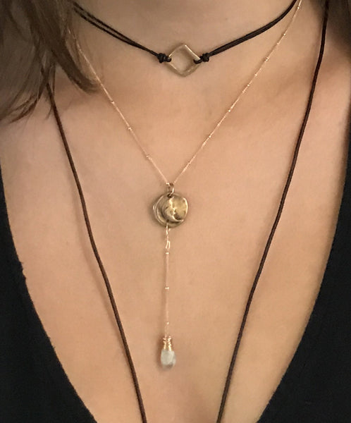 Handmade Gold Fill Crescent Moon Charm Lariat Delicate Necklace with Moonstone Drop