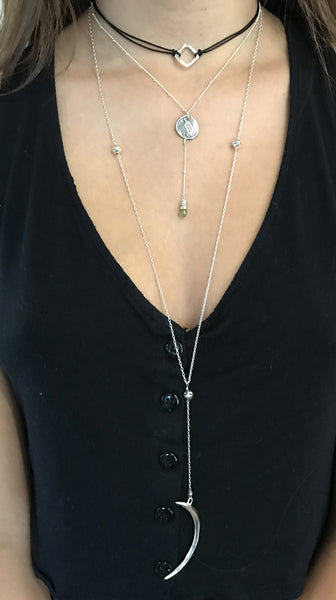 Handmade Sterling Silver Feather Charm Lariat Delicate Necklace with Labradorite