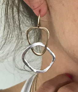 Handmade Sterling Silver and Bronze Organic Triangle Large Circle Earrings