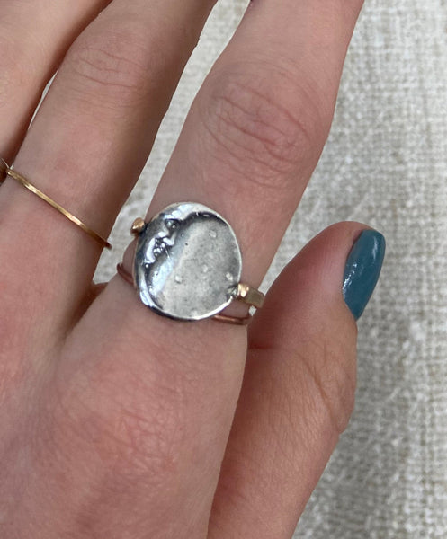 Silver Crescent Moon Ring with 14K Gold Fill Band